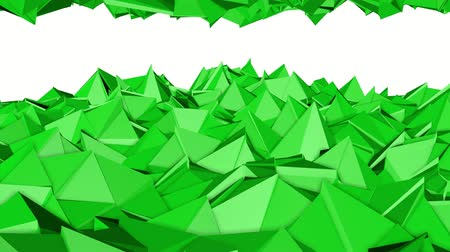 углы : green animated low poly. 3d rendering Стоковые видеозаписи
