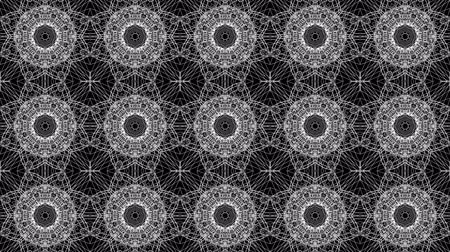 screen saver : Black white kaleidoscope background. abstract. 3d render Stock Footage