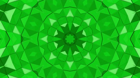 screen saver : Green three-dimensional kaleidoscope background. abstract. 3d render Stock Footage