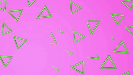 köşeler : Green three-dimensional triangles fly on a purple. abstract background. 3d rendering Stok Video