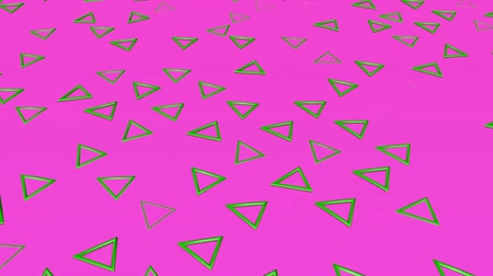 canto : Green three-dimensional triangles fly on a purple. abstract background. 3d rendering Stock Footage