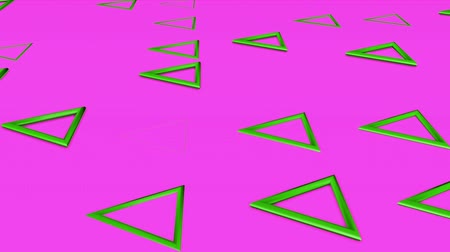 narożnik : Green three-dimensional triangles fly on a purple. abstract background. 3d rendering Wideo