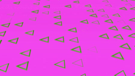 sparire : Green three-dimensional triangles fly on a purple. abstract background. 3d rendering Filmati Stock