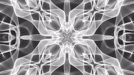 screen saver : black and white animated pattern. Abstract moving kaleidoscope. 3d rendering Stock Footage