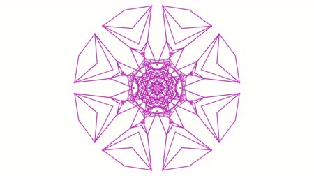 screen saver : purple kaleidoscope pattern on white background. abstract looped. 3d rendering