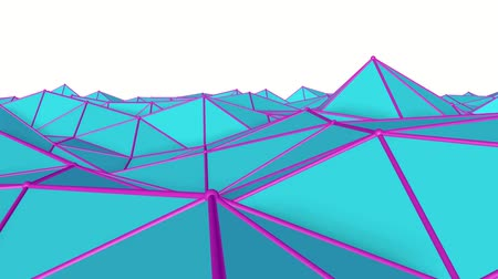 screen saver : turquoise low poly surface covered with is slowly deformed. abstract looped animation. 3d rendering Stock Footage