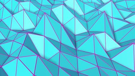 narożnik : turquoise low poly surface covered with is slowly deformed. abstract looped animation. 3d rendering Wideo