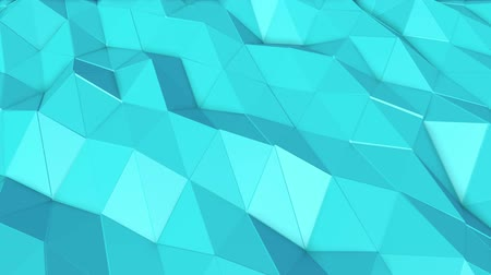 köşeler : turquoise low poly surface covered with is slowly deformed. abstract looped animation. 3d rendering Stok Video