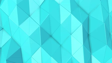 canto : turquoise low poly surface covered with is slowly deformed. abstract looped animation. 3d rendering Stock Footage