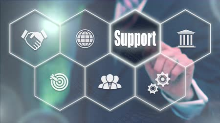 recursos : Businessman pressing a  Business Support concept Vídeos