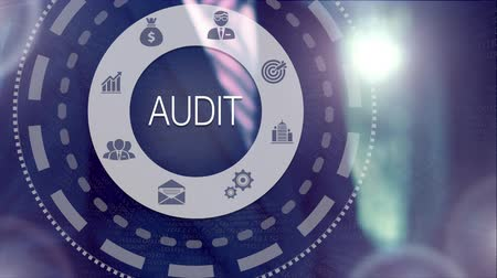 auditing : A businessman selecting a Audit Business concept on a futuristic computer display. Stock Footage