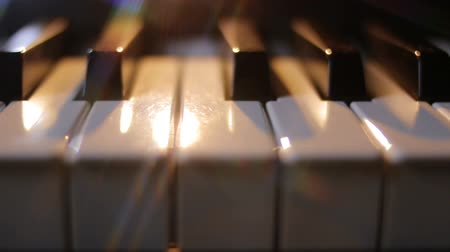 piano parts : Piano keys on a dark background in motion