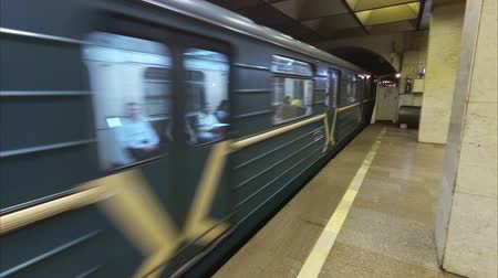 tubular : Russia St. Petersburg subway train arrival