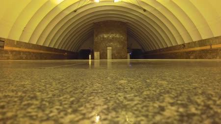 tubular : timelapse St. Petersburg Russia Metro passengers trains subway