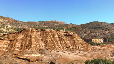 opencast : Old abandoned metal quarry in Cartagena region of Spain Stock Footage