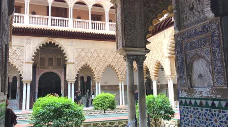 mudejar : SPAIN, SEVILLE - MARCH 23: View of the Real Alcazar Palace in Seville, Spain on March 23, 2017