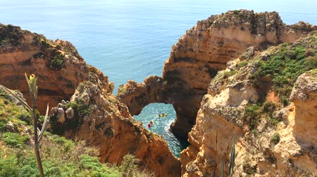 ponta da piedade : Ponta da Piedade group of rock formations along the coastline of Lagos Algarve Portugal Stock Footage