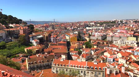 alfama : Panoramic view from the viewpoint of the Graca district in Lisbon Portugal Stock Footage