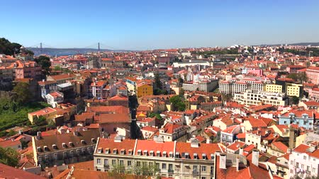 miradouro : Panoramic view from the viewpoint of the Graca district in Lisbon Portugal Stock Footage