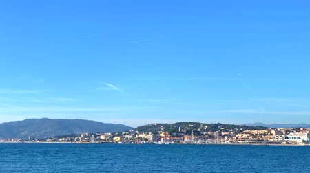 View on the waterfront of the Cannes, French Riviera, France from the sea