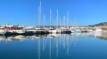View of the yachts in Marina of Cannes, French Riviera, France