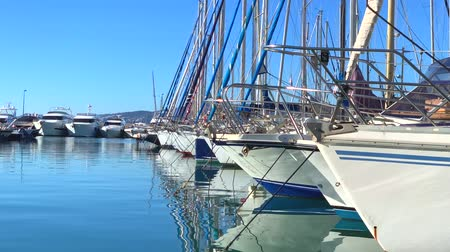 ancorado : View of the yachts in Marina of Cannes, French Riviera, France. Video 4K Stock Footage