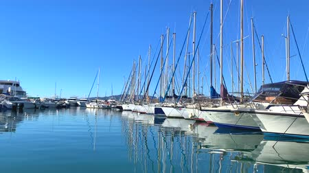 View of the yachts in Marina of Cannes, French Riviera, France. Video 4K Dostupné videozáznamy
