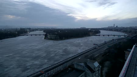 crossway : 1 january 2017. Saint-Petersburg. Time lapse video overlooking Ushakovskay embankment of the Neva river in St. Petersburg from the height of bird flight .Russia. Stock Footage