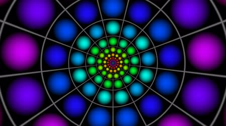 caleidoscópio : Full-spheres fly from center grouped in a ring. They come nearer and change the colors.