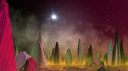 mese : The fantastic (alien) city consists of high strange buildings and is colored in bright colors. It is shrouded in a yellow fog. In the night star sky the star sparks.