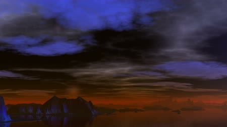 orbe : In the dark night sky light spheres fly. Clouds float. Rocks among water are shrouded by a red fog Stock Footage