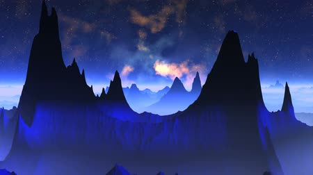 mese : Dark blue mountains are covered by a blue fog. In the night star sky the fog is poured by different colors.