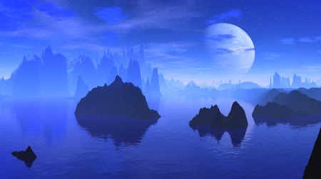 yanılsama : Dark rocks among water are shrouded by a blue fog. In the night sky easy clouds, the big moon floats. In water shades are reflected.