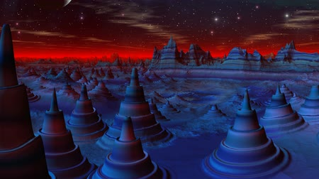 fantazja : Cone-shaped blue structures change the form. Over horizon a red shone fog. In the night sky the moon, stars brightly shine, clouds float.