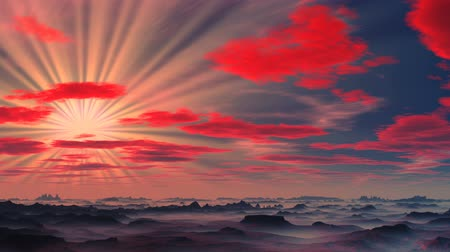 fantazja : The star brightly shines, red clouds over foggy mountains float. Hills are covered by a white fog.