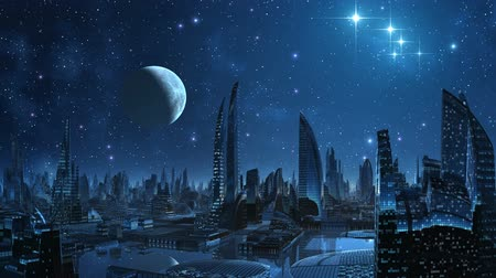 mese : Over a city the moon and stars weighs and are reflected in water. All is flooded by blue light.