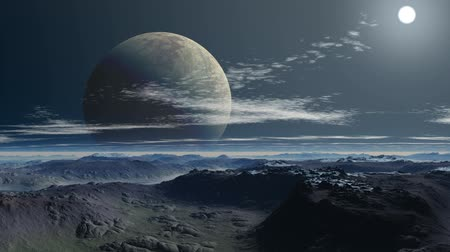 fantasia : Two moon (planet) against a mountain landscape Vídeos