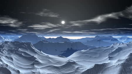 segredo : The moon shines, clouds, against snow-covered mountains float