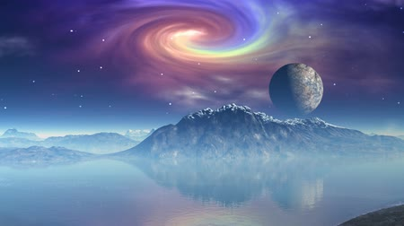 прекрасный : The moon (planet) floats against the star sky and a spiral fog. It is reflected in lake water Стоковые видеозаписи