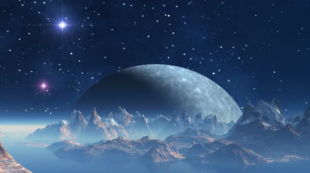 mese : The huge blue moon rises because of the horizon of a fantastic planet. In the night sky bright flickering stars and nebulas. Tops of mountains are covered with snow. Over water a white fog.