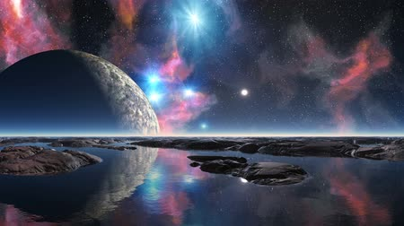 The bright nebula is slowly poured in dark star the sky. Big blue stars brightly sparkle.  Wideo