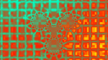 változás : On a bright color background a lattice on which patterns from rings change.