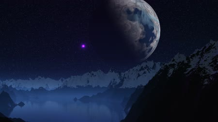 mese : Night. The lake in mountains. Tops are covered with snow. In the dark sky huge planet (moon). Around stars. Because of the horizon the red being shone object (UFO) takes off and promptly crosses the sky.
