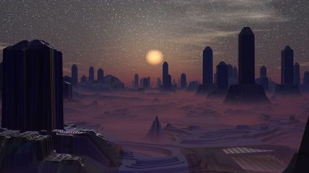 mese : Strange high buildings stand among mountains. The city is shrouded in a lilac fog. Buildings flicker. In the night star sky the dim sun slowly falls to the horizon.