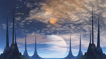 horizont : High towers with sharp tops and the wide basis are symmetrized. Between them in the star sky the big blue gas giant, over it a bright yellow planet (moon) is visible. Slowly clouds float, the horizon is covered with a bright white-blue fog. Stock mozgókép