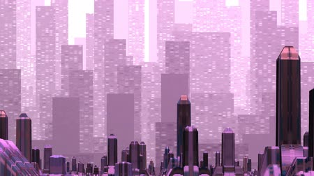 skyscraper : Over the city consisting of strange high buildings there is a mirage of other city consisting of skyscrapers. It approaches on the fantastic city. In total in pink color Stock Footage