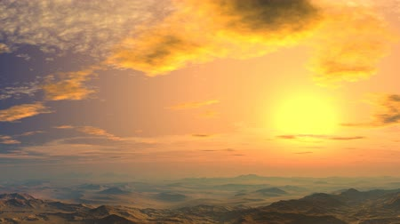 dream : Sky and clouds painted in yellow. The camera quickly flying over low mountains and hills towards the setting sun Stock Footage