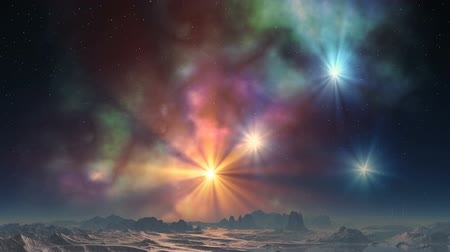 Bright yellow and blue stars shine on the background color changing nebula. They illuminate the rocky terrain fantastic planet. Above the surface of light haze. Wideo