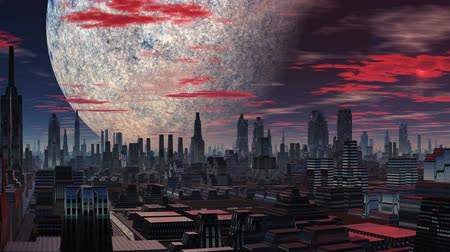 fantasy fantastic : Fantastic city with wide streets and gleaming skyscrapers slowly filled with bright red light soaring luminous object (UFO). Above the city is a huge planet (moon). The night sky slowly floating clouds and turn red.