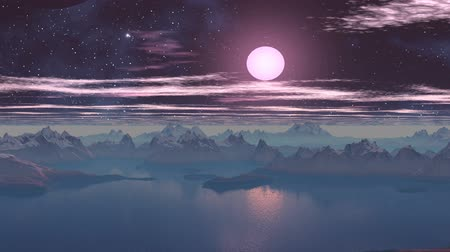 fantasia : Blue mist envelops the sharp rocky islands, standing among the calm waters. In the night sky bright stars and nebula clouds slowly float. The bright white moon moves toward the horizon, her second moon falls. Fog dissipates.